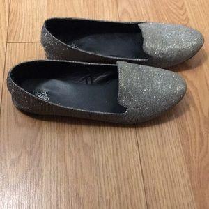 Black Poppy silver shoes